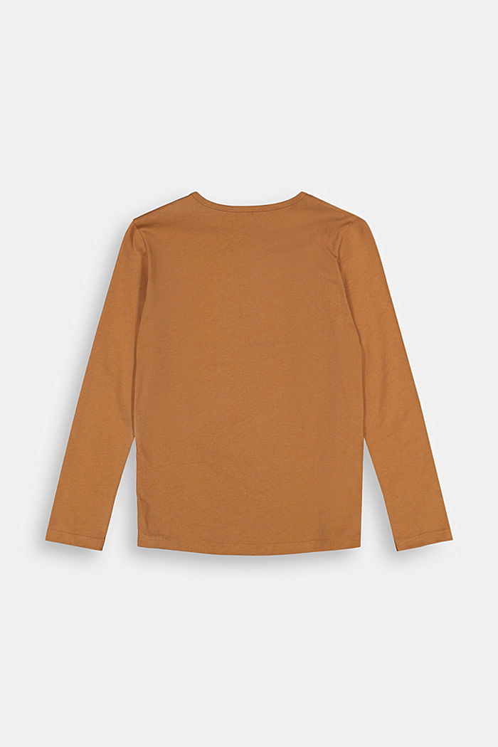 Printed long sleeve Henley top, 100% cotton