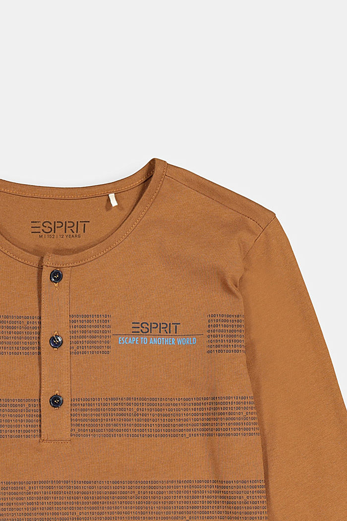 Printed long sleeve Henley top, 100% cotton, TOFFEE, detail image number 2