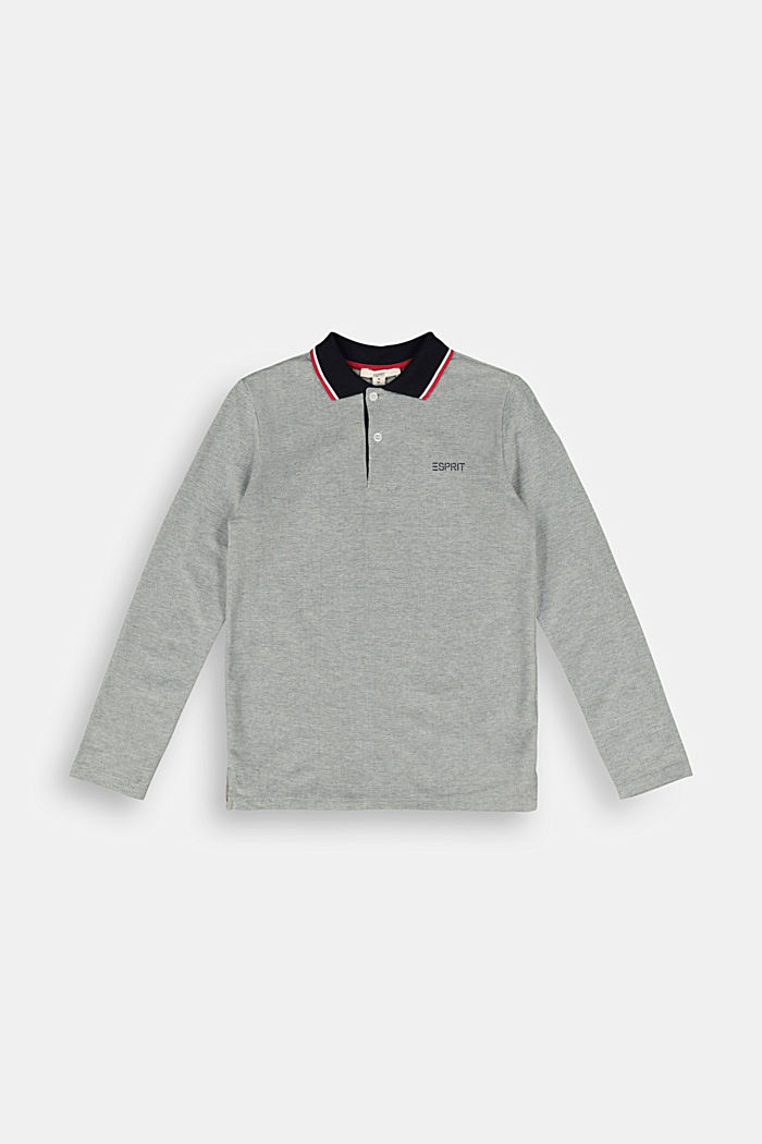 Long sleeve polo shirt in 100% cotton