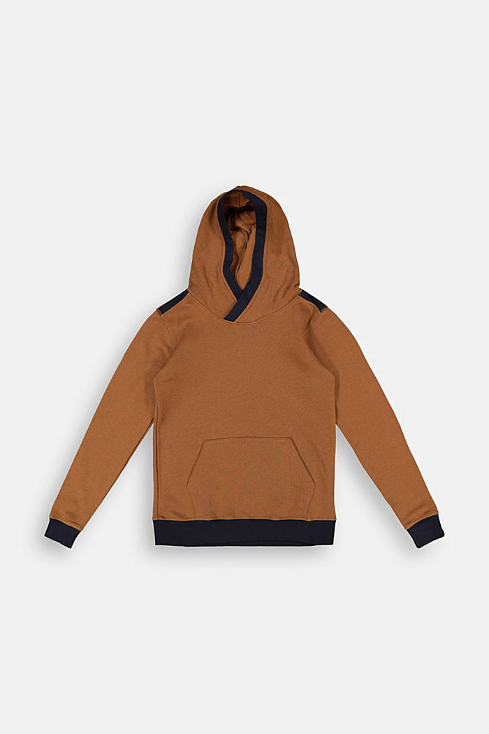 Hoodie in 100% cotton, TOFFEE, overview