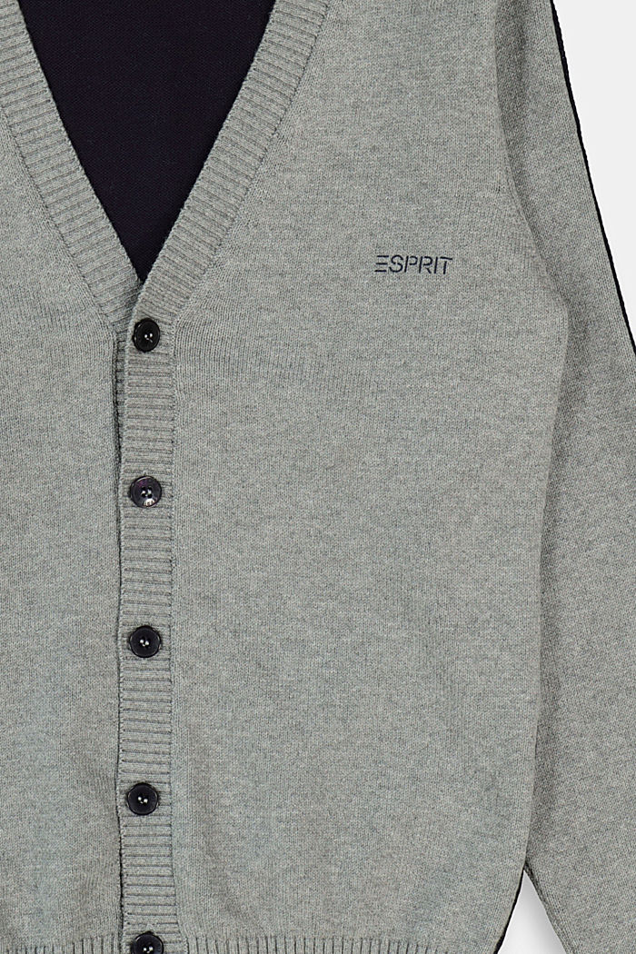 Colour block cardigan made of 100% cotton, DARK GREY, detail image number 2