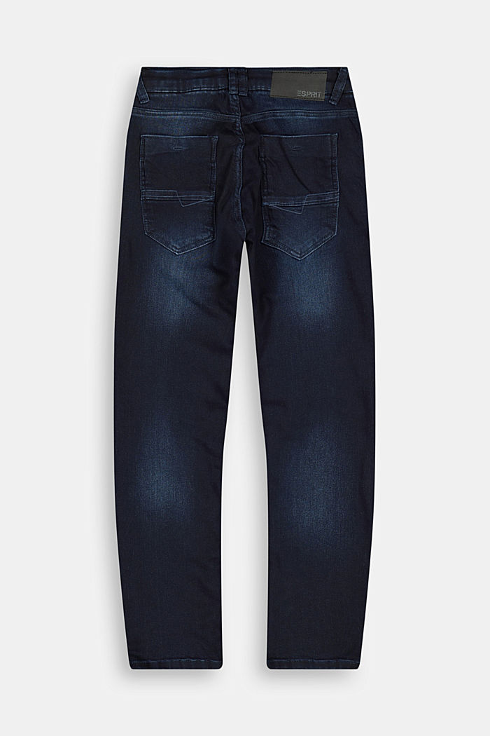 Washed Stretch-Jeans mit Verstellbund, BLUE DARK WASHED, detail image number 1