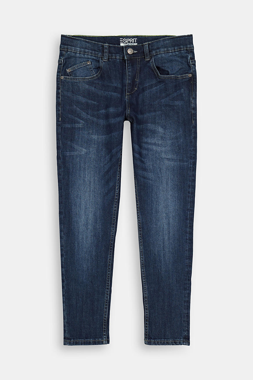 Washed stretch jeans with an adjustable waistband