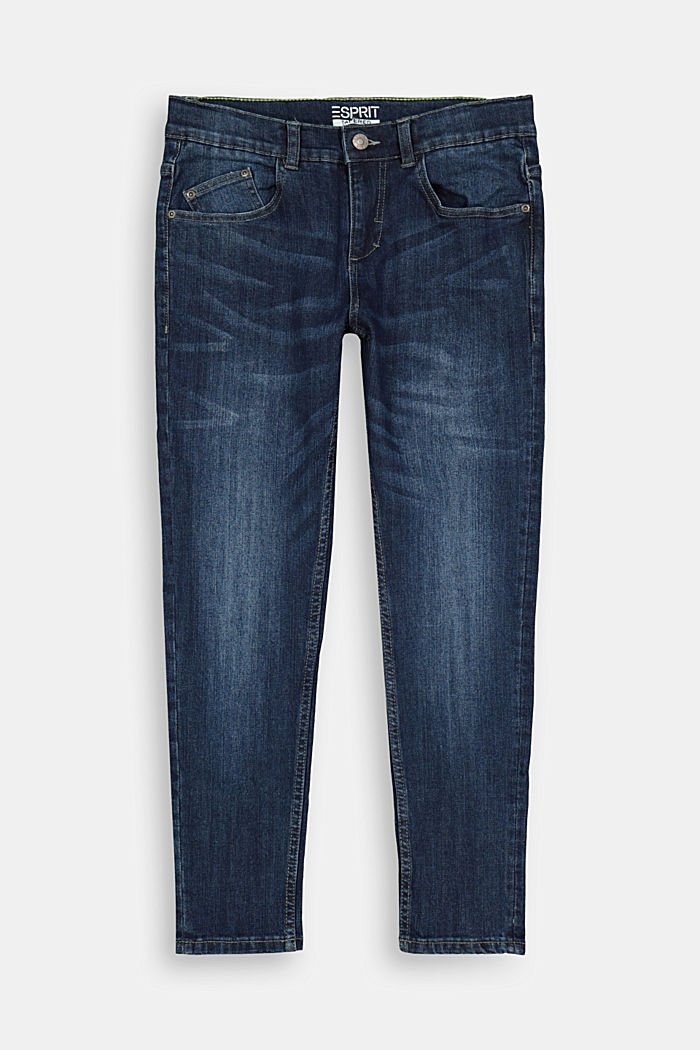 Washed Stretch-Jeans mit Verstellbund, BLUE MEDIUM WASHED, overview