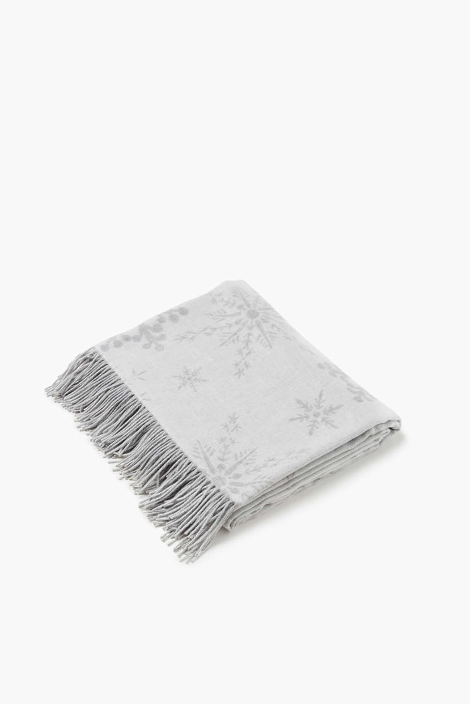 Esprit - Soft reversible throw with fringing, Crystal