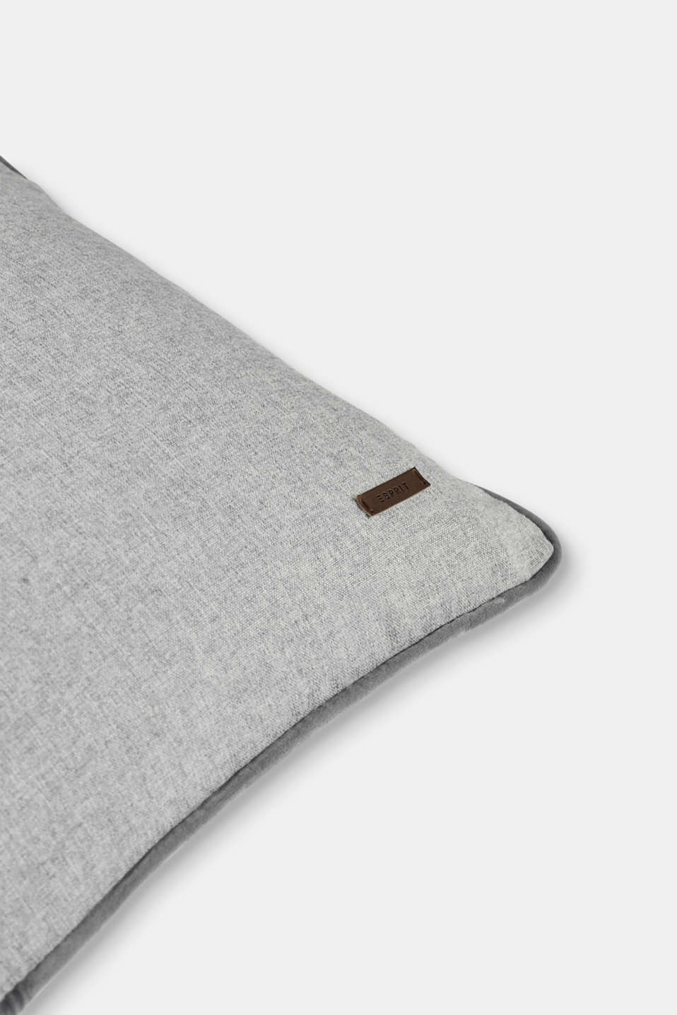 Cushion cover with velvet piping, LIGHT GREY, detail image number 1