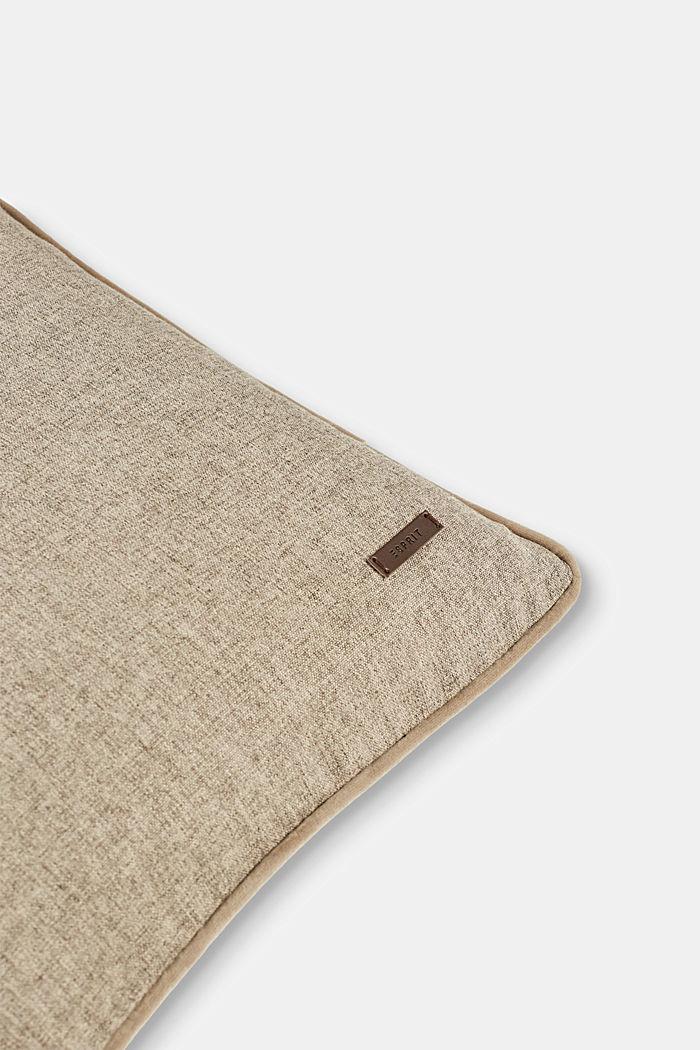 Poszewka na poduszkę z aksamitną lamówką, CHOCOLATE, detail image number 1