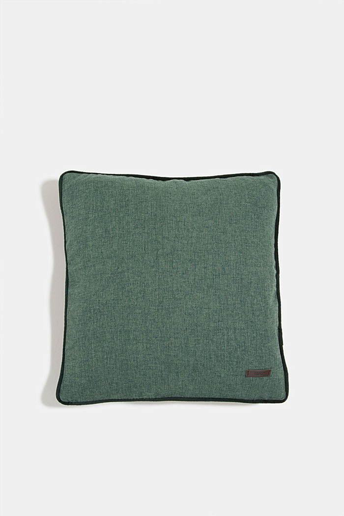 Cushion cover with velvet piping, DARK GREEN, detail image number 0