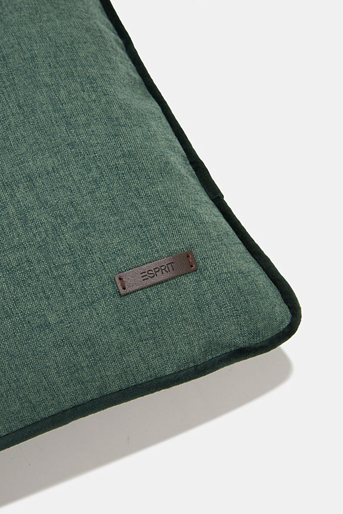 Cushion cover with velvet piping, DARK GREEN, detail image number 1