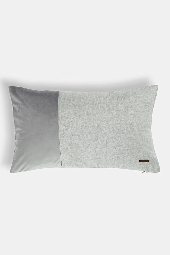 Material mix cushion cover with micro-velvet, LIGHT GREY, overview