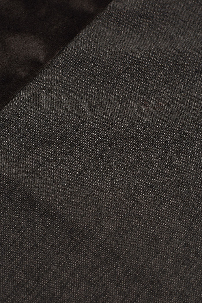 Material mix cushion cover with micro-velvet, DARK GREY, detail image number 2