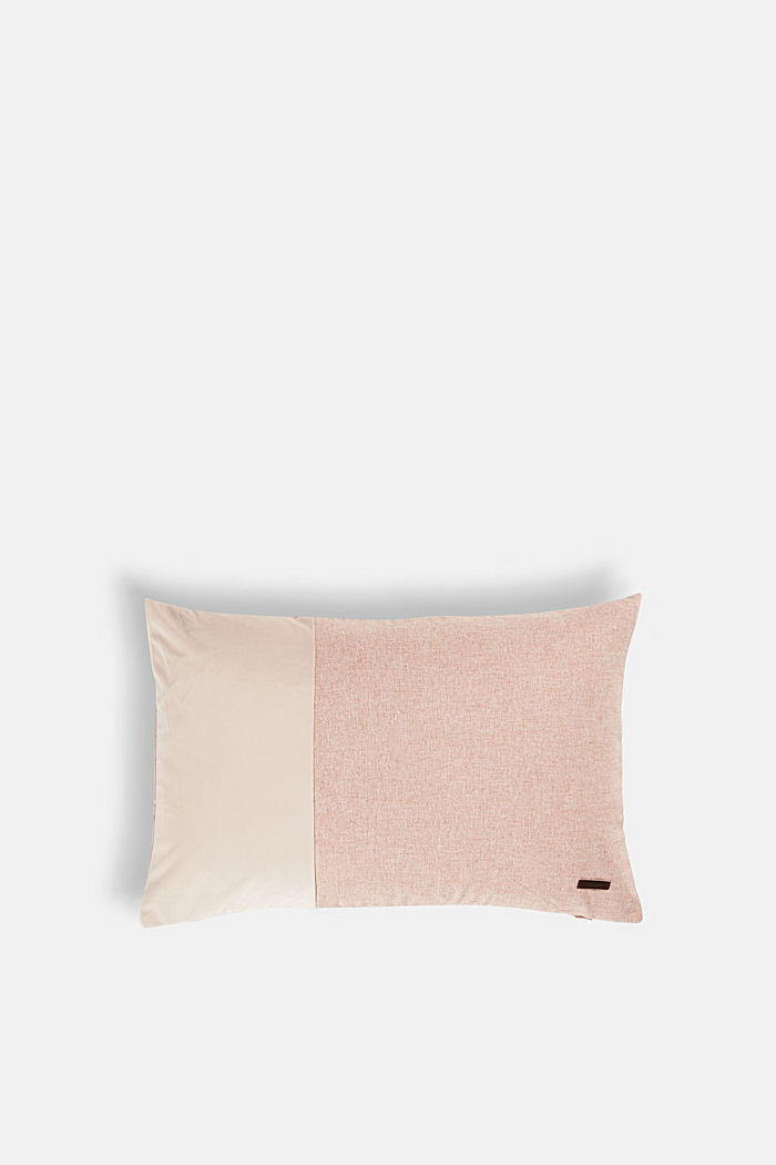 Material mix cushion cover with micro-velvet, ROSE, detail image number 0