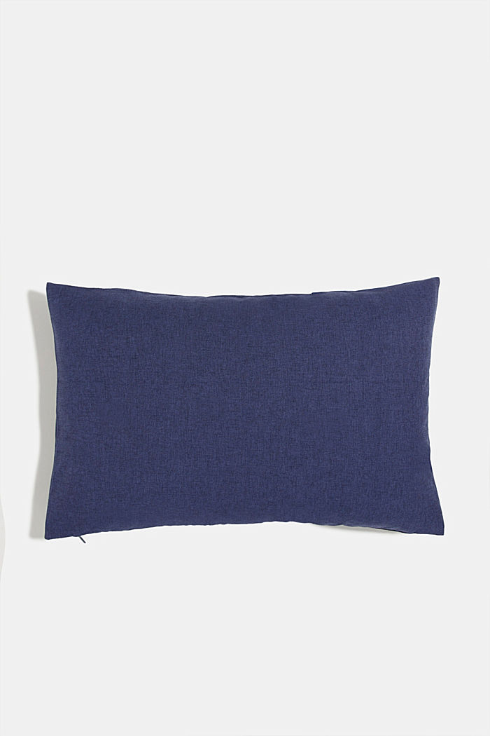 Material mix cushion cover with micro-velvet, NAVY, detail image number 2