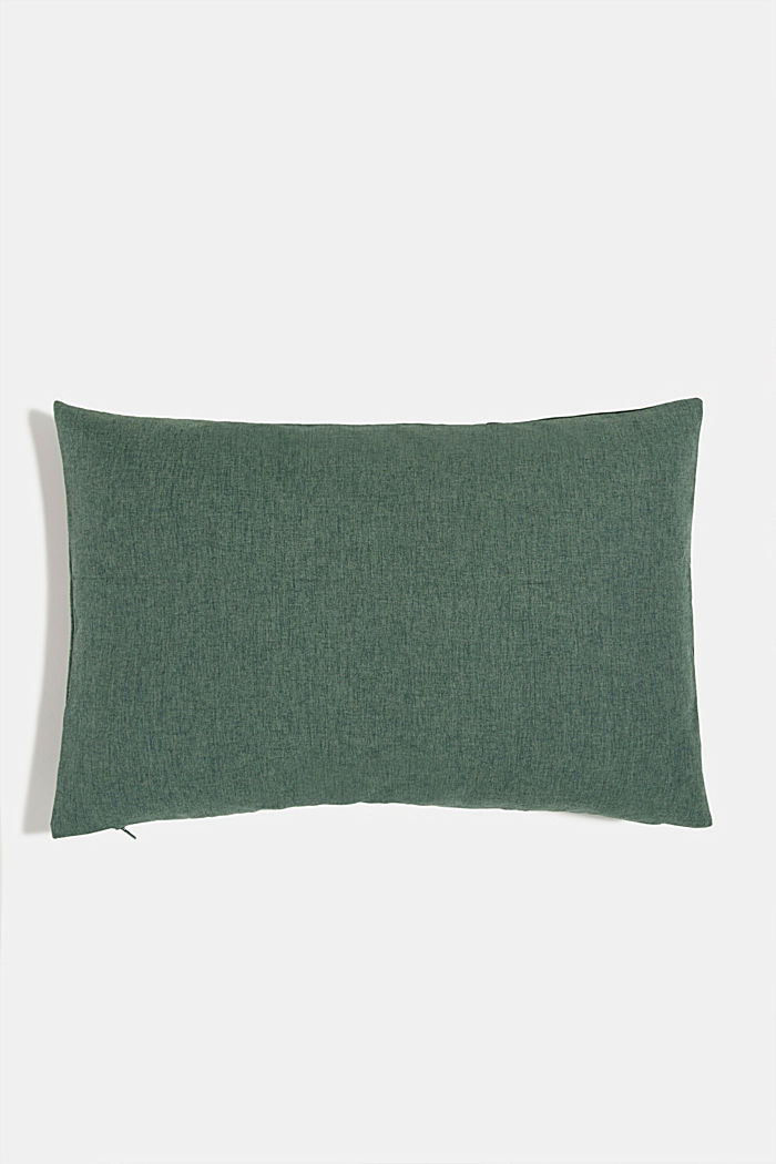 Material mix cushion cover with micro-velvet, DARK GREEN, detail image number 2