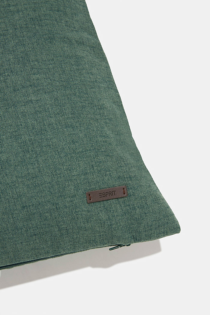 Material mix cushion cover with micro-velvet, DARK GREEN, detail image number 1