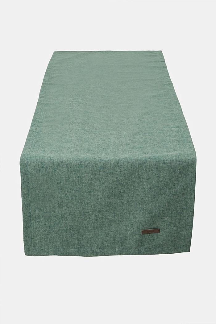 Chemin de table en tissu chiné, DARK GREEN, detail image number 0