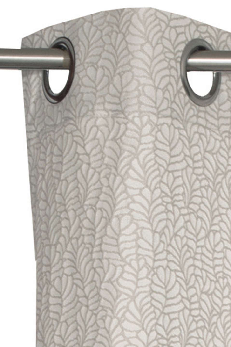 Jacquard eyelet curtain with a leaf motif