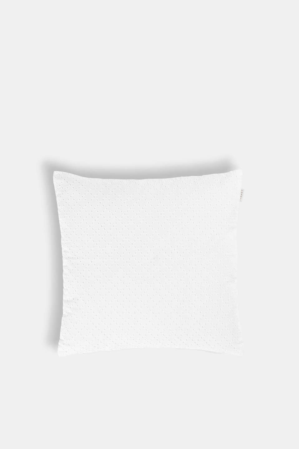Esprit - Cotton cushion cover with broderie anglaise
