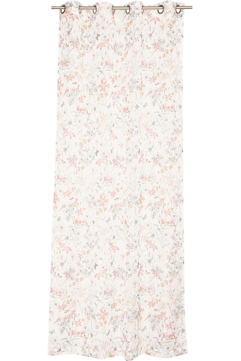 Esprit - Eyelet curtain with a bright floral pattern