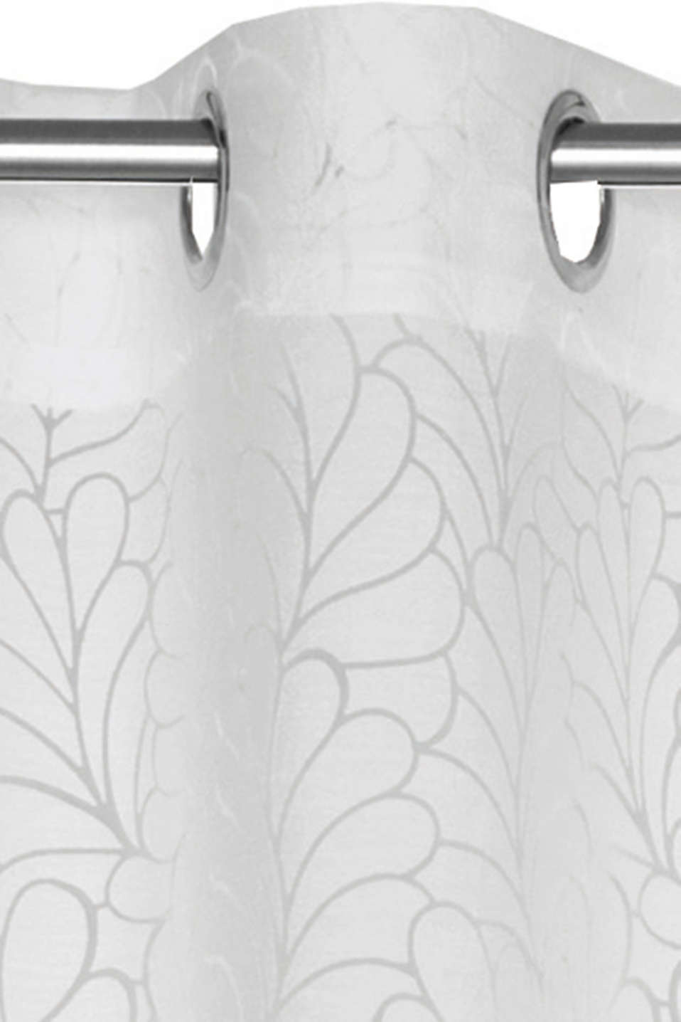 Eyelet curtain with floral burnt-out pattern
