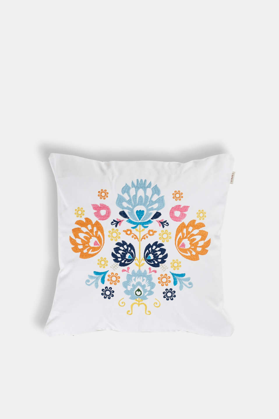 Esprit - Embroidered cushion cover in cotton canvas