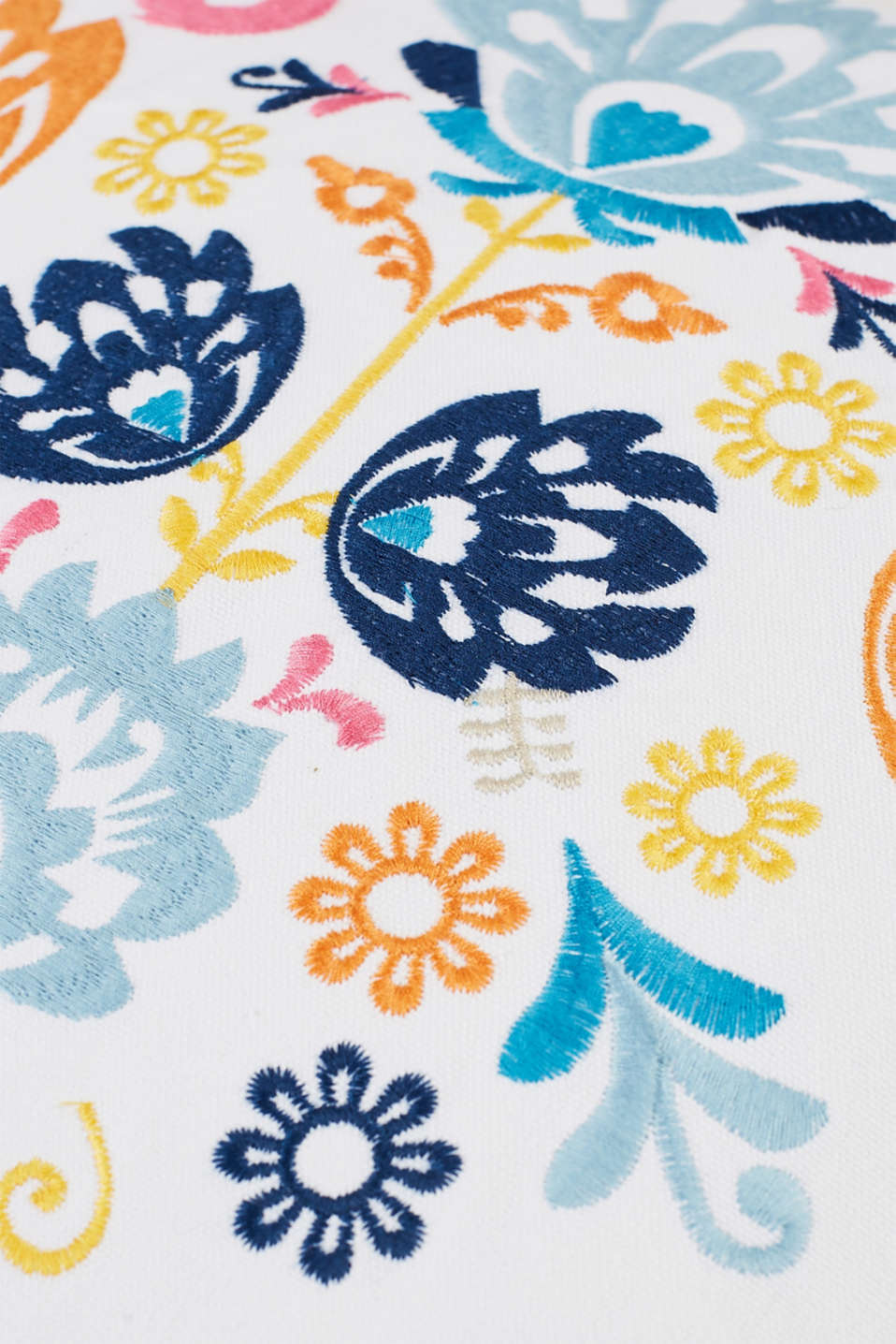 Embroidered cushion cover in cotton canvas, MULTI, detail image number 1