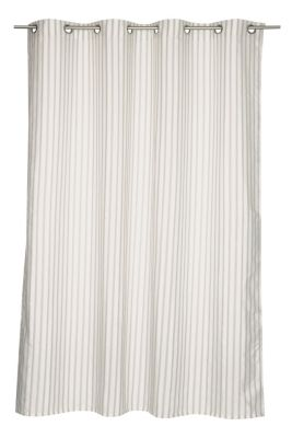 Eyelet curtain with textured stripes and linen, GREY-BEIGE, detail