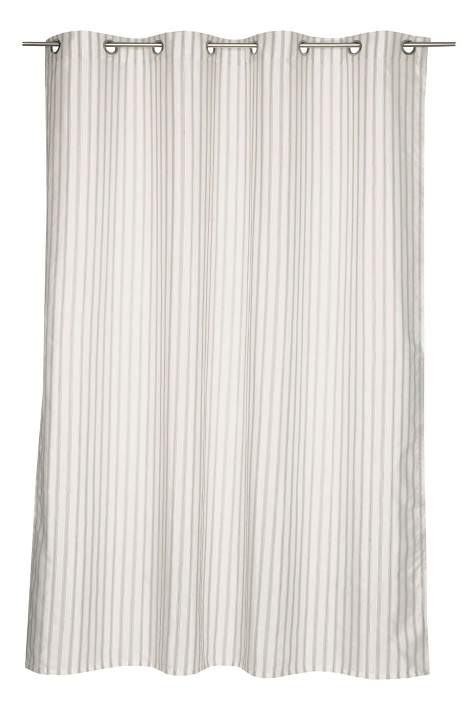 Eyelet curtain with textured stripes and linen, GREY-BEIGE, detail image number 0