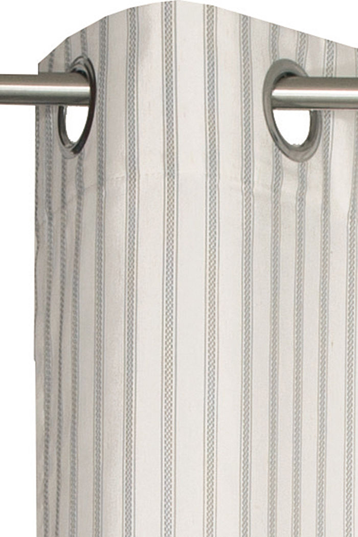 Eyelet curtain with textured stripes and linen, GREY-BEIGE, detail image number 1