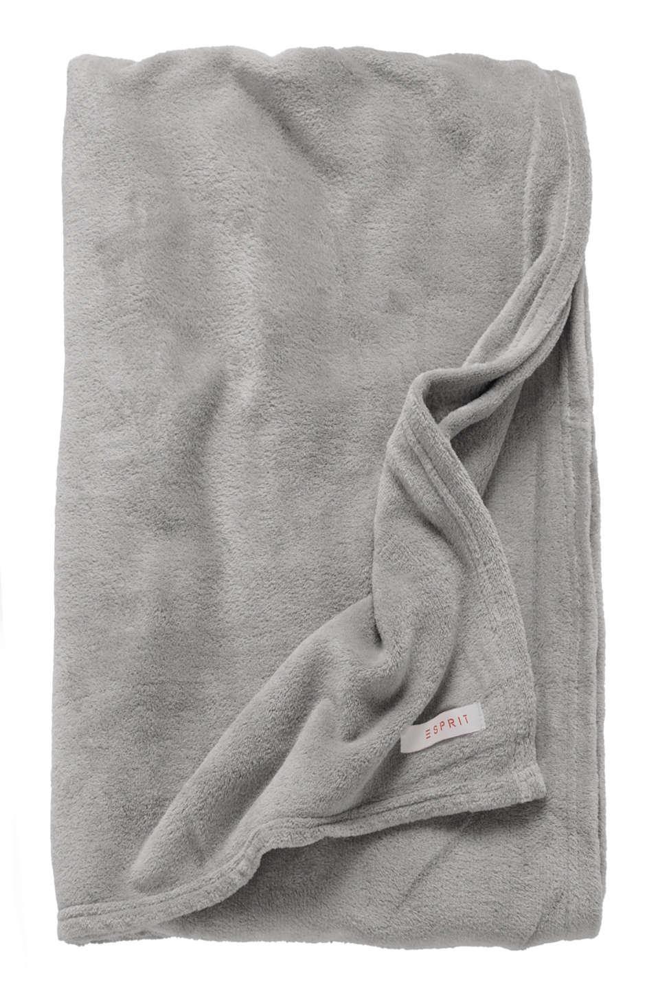 Plain throw in soft fleece, LIGHT GREY, detail image number 2