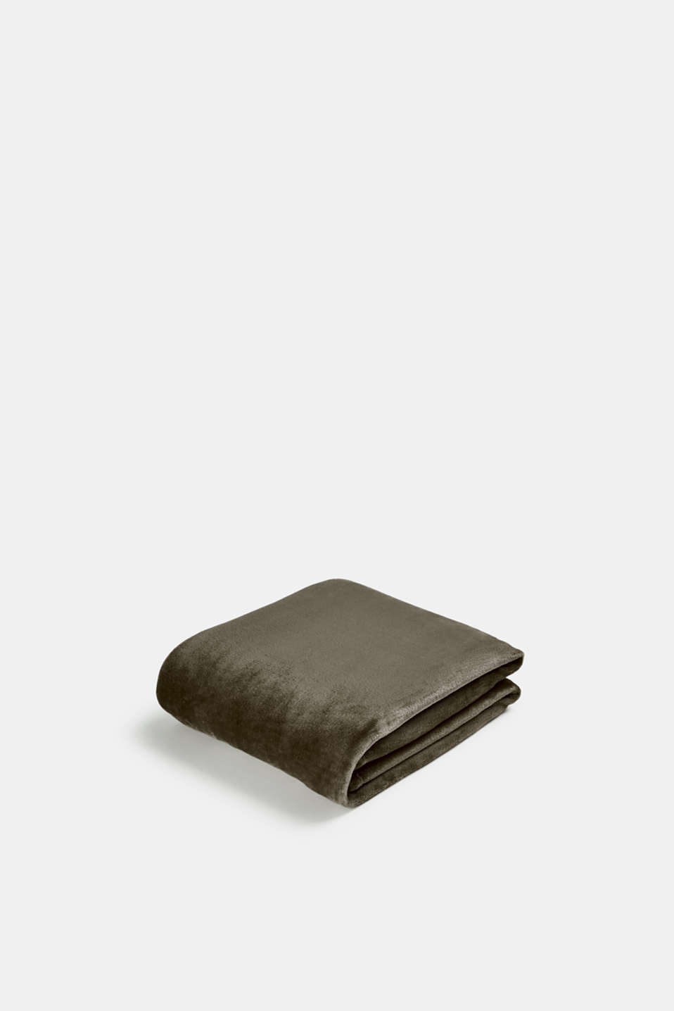 Plain throw in soft fleece, BROWN-GREY, detail image number 0