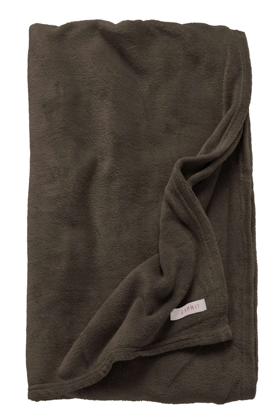 Plain throw in soft fleece, BROWN-GREY, detail image number 2