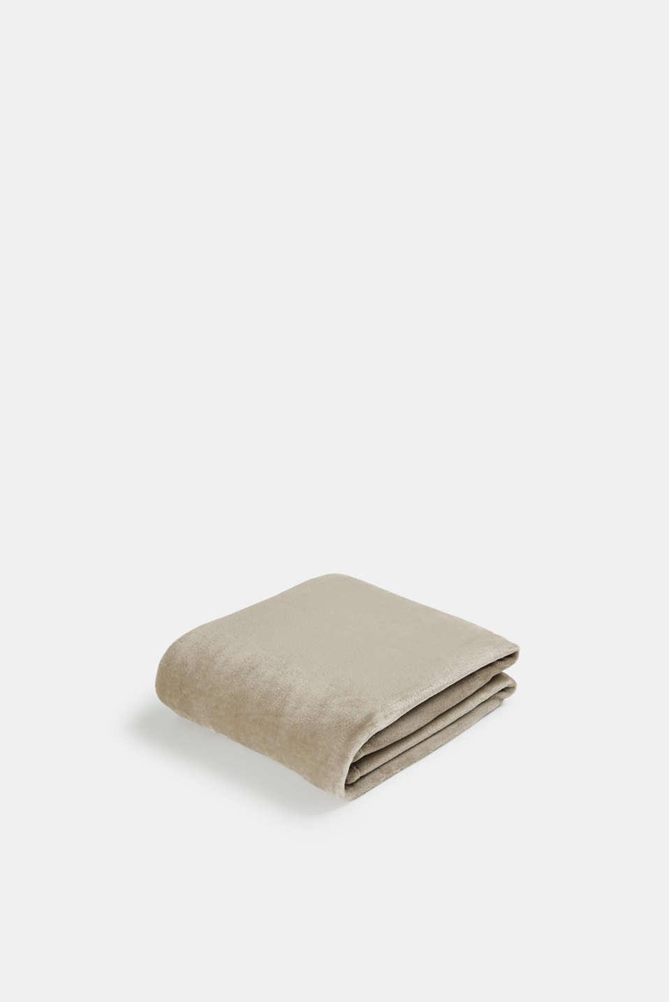 Plain throw in soft fleece, BEIGE, detail image number 0