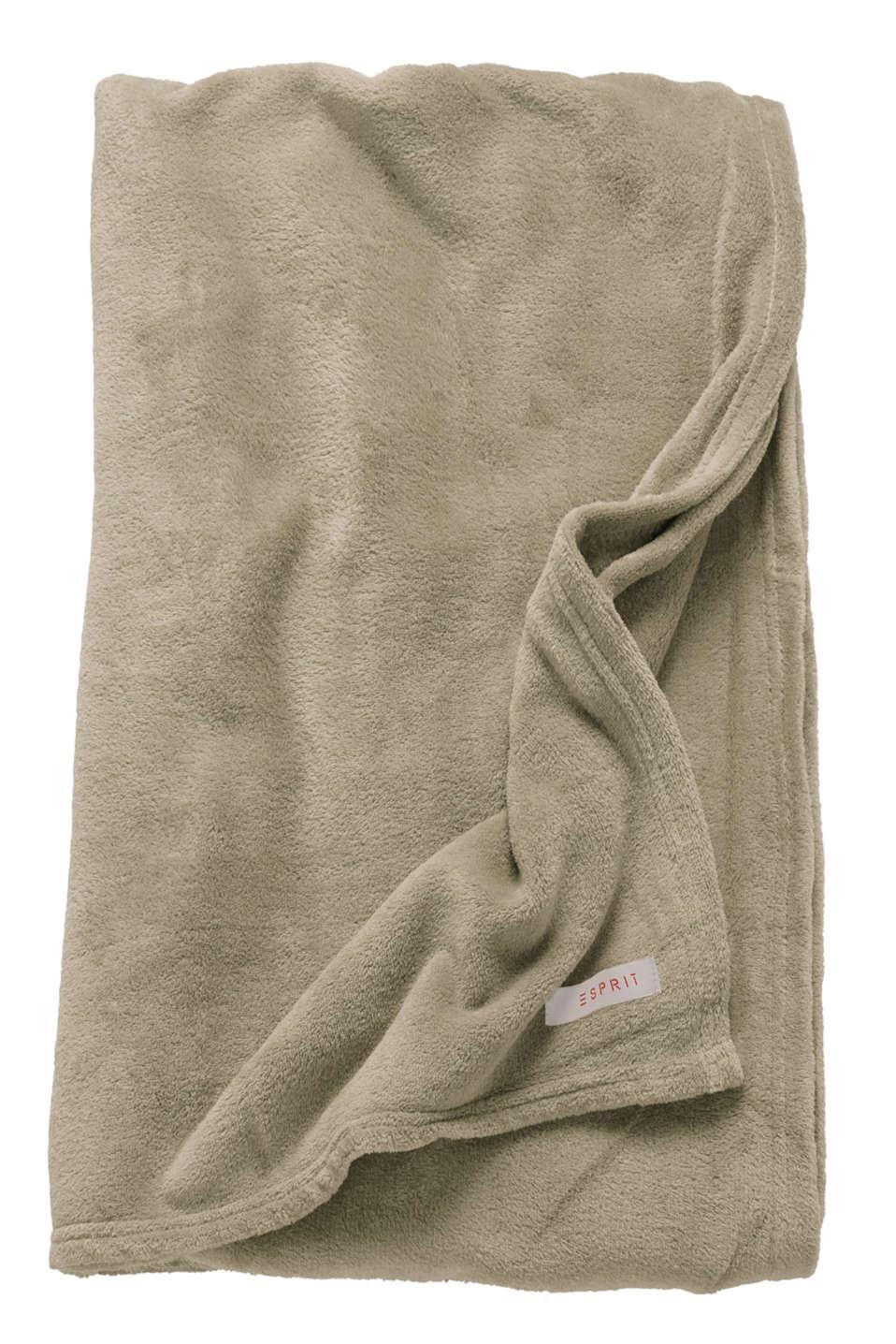 Plain throw in soft fleece, BEIGE, detail image number 2