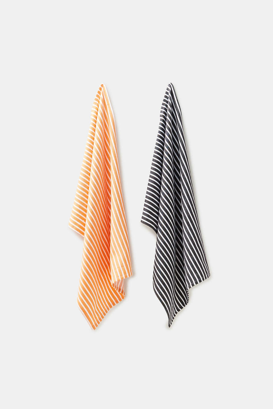 Double pack of tea towels with stripes, cotton, BLACK/ORANGE, detail image number 0