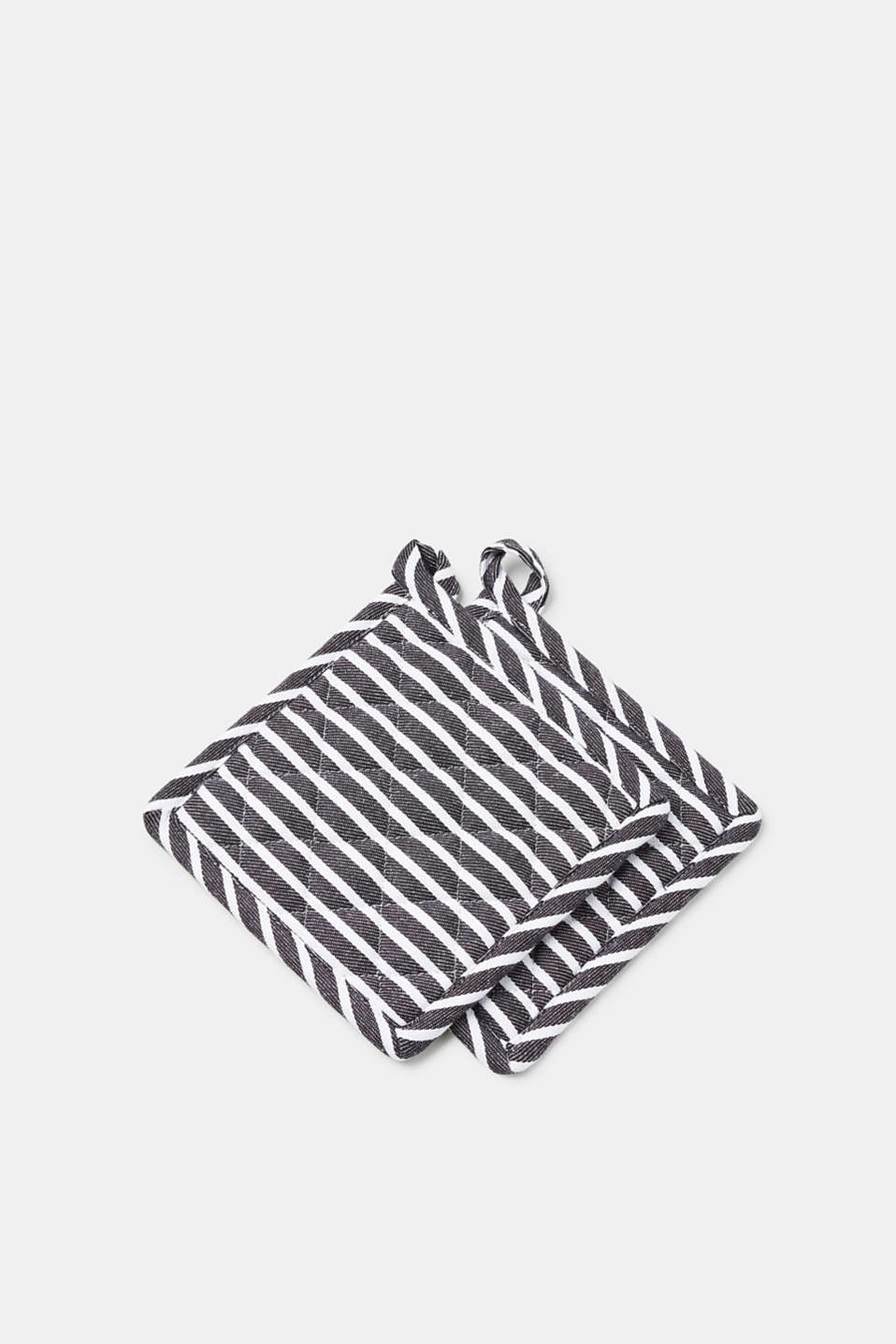 Esprit - Pot holders with woven stripes, made of pure cotton
