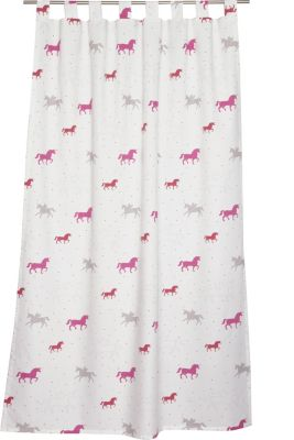 Opaque tab top curtain with a unicorn print, PINK, detail
