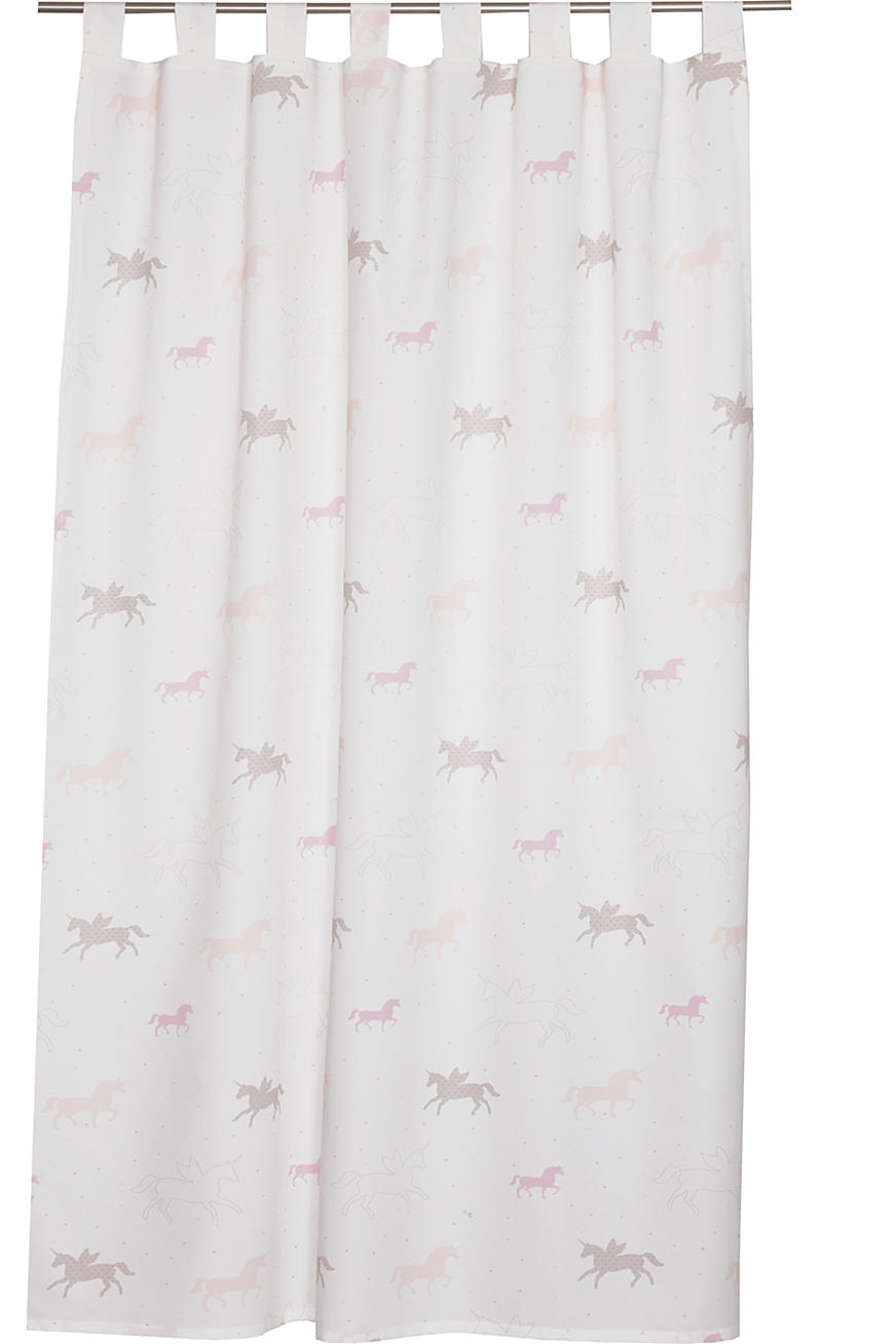 Opaque tab top curtain with a unicorn print