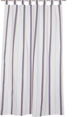 Opaque tab top curtain with a striped print, BLUE, detail