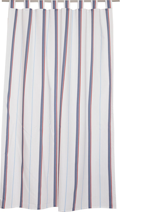 Opaque tab top curtain with a striped print