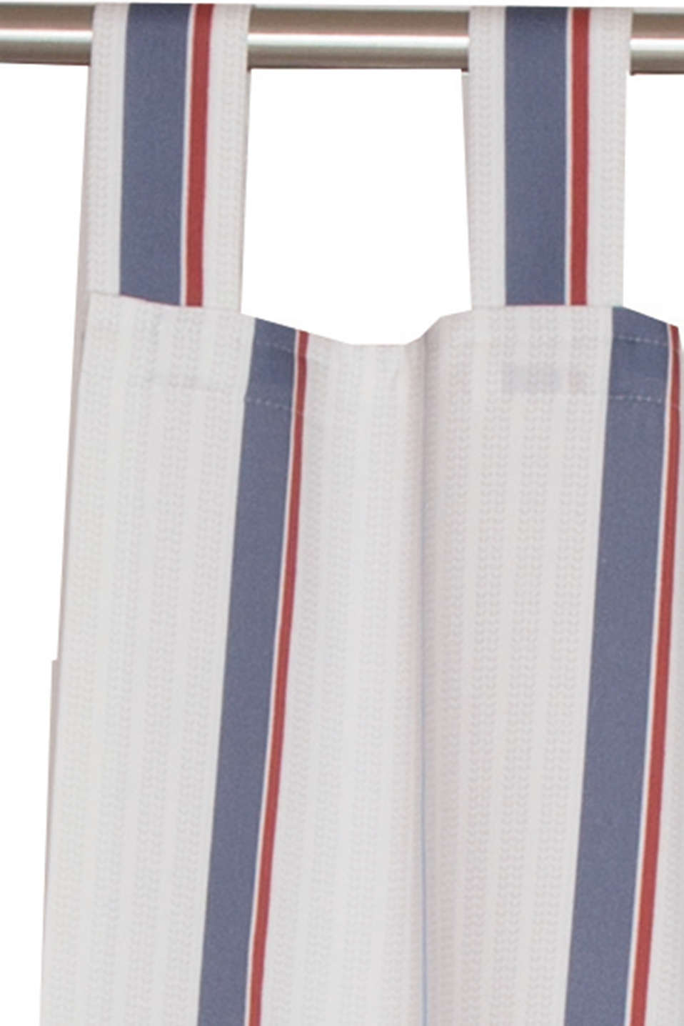 Opaque tab top curtain with a striped print, BLUE, detail image number 1