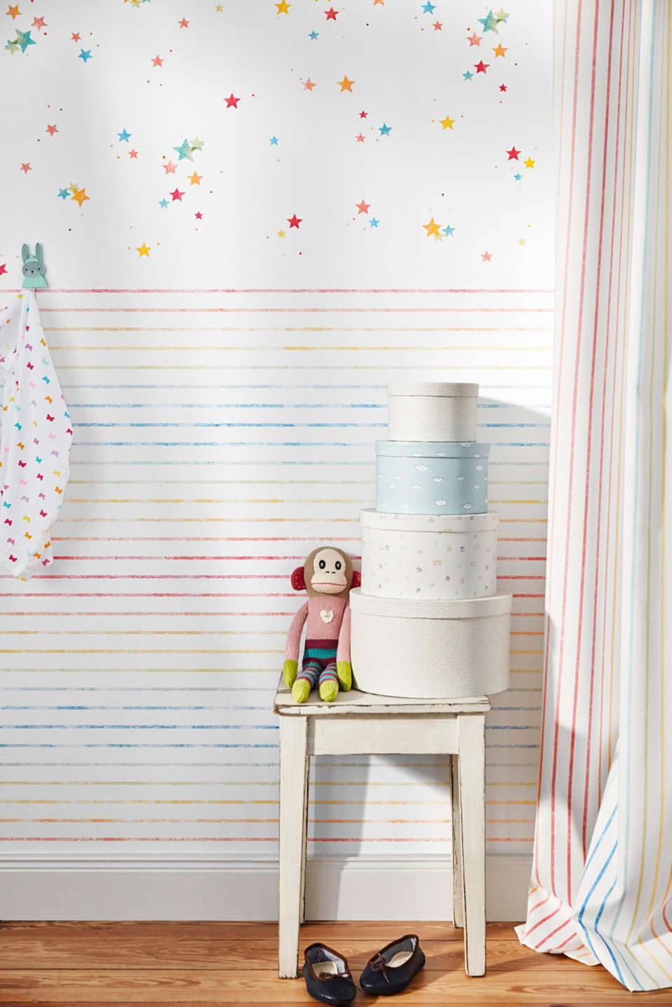 Opaque tab top curtain with a striped print, MULTICOLOR, detail image number 2