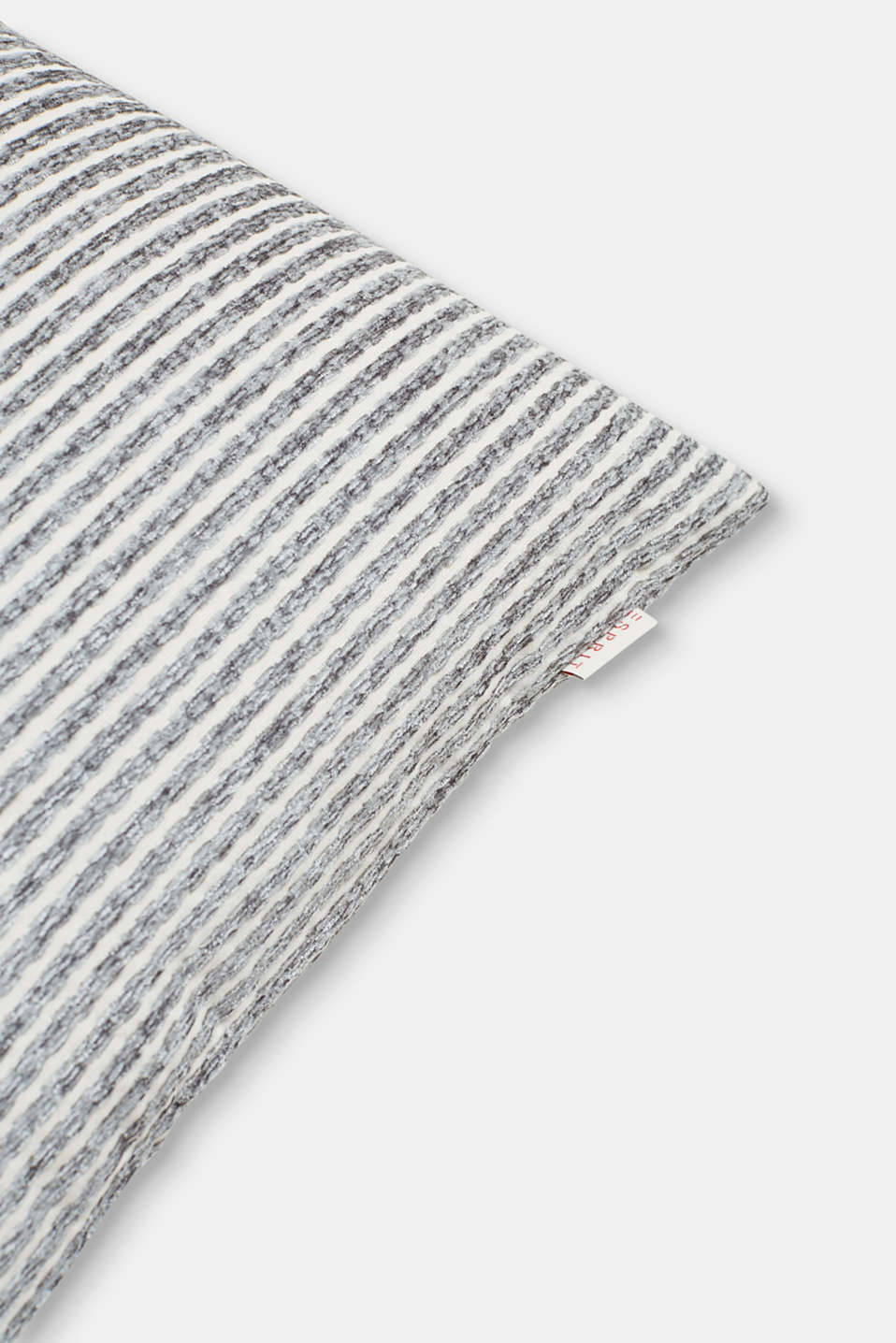 Cushion cover with textured stripes, GREY, detail image number 1