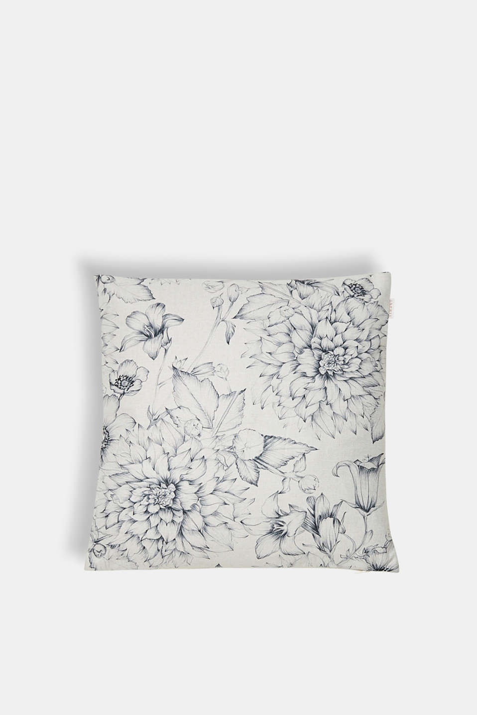 Cushion cover with a floral print, OFF WHITE, detail image number 0