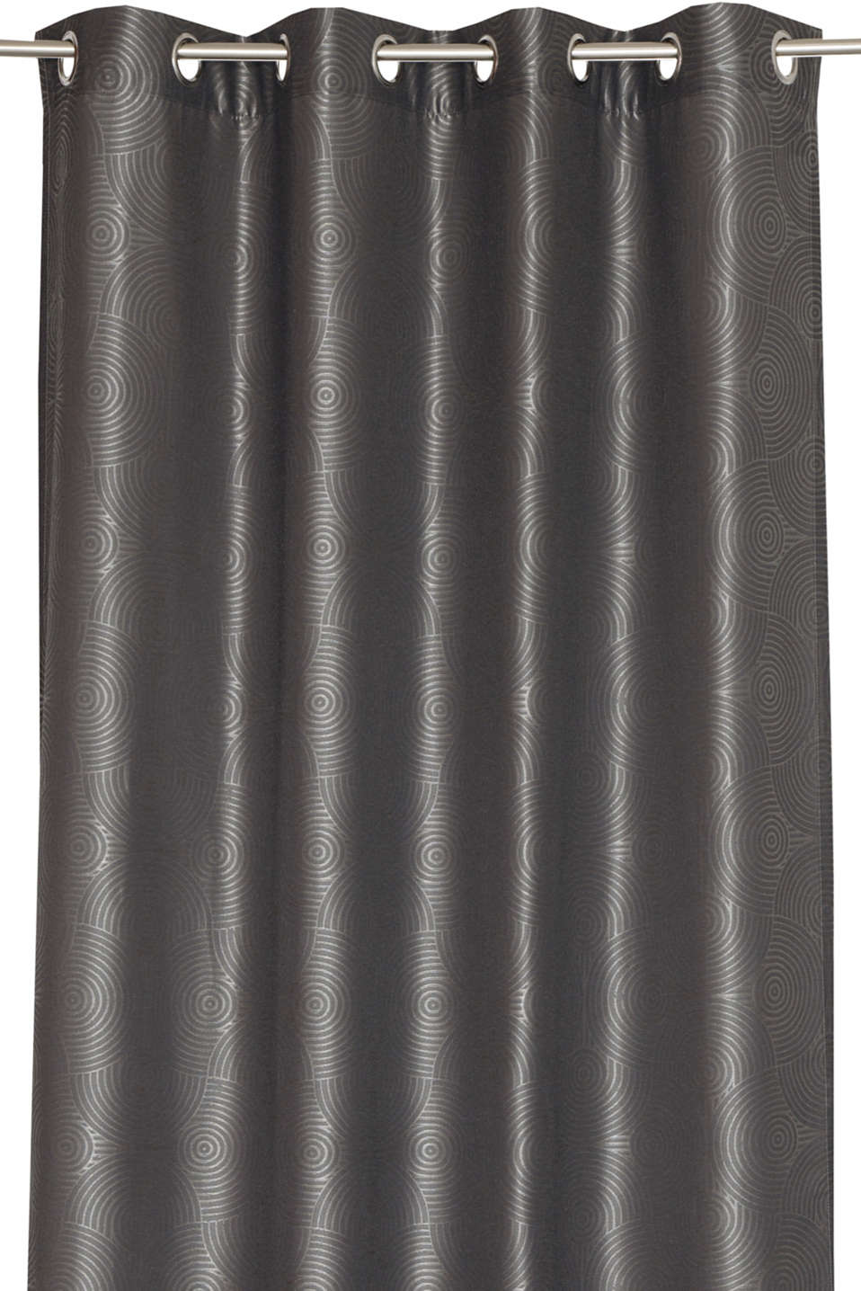 Eyelet curtain with an interwoven ring pattern, ANTHRACITE, detail image number 0