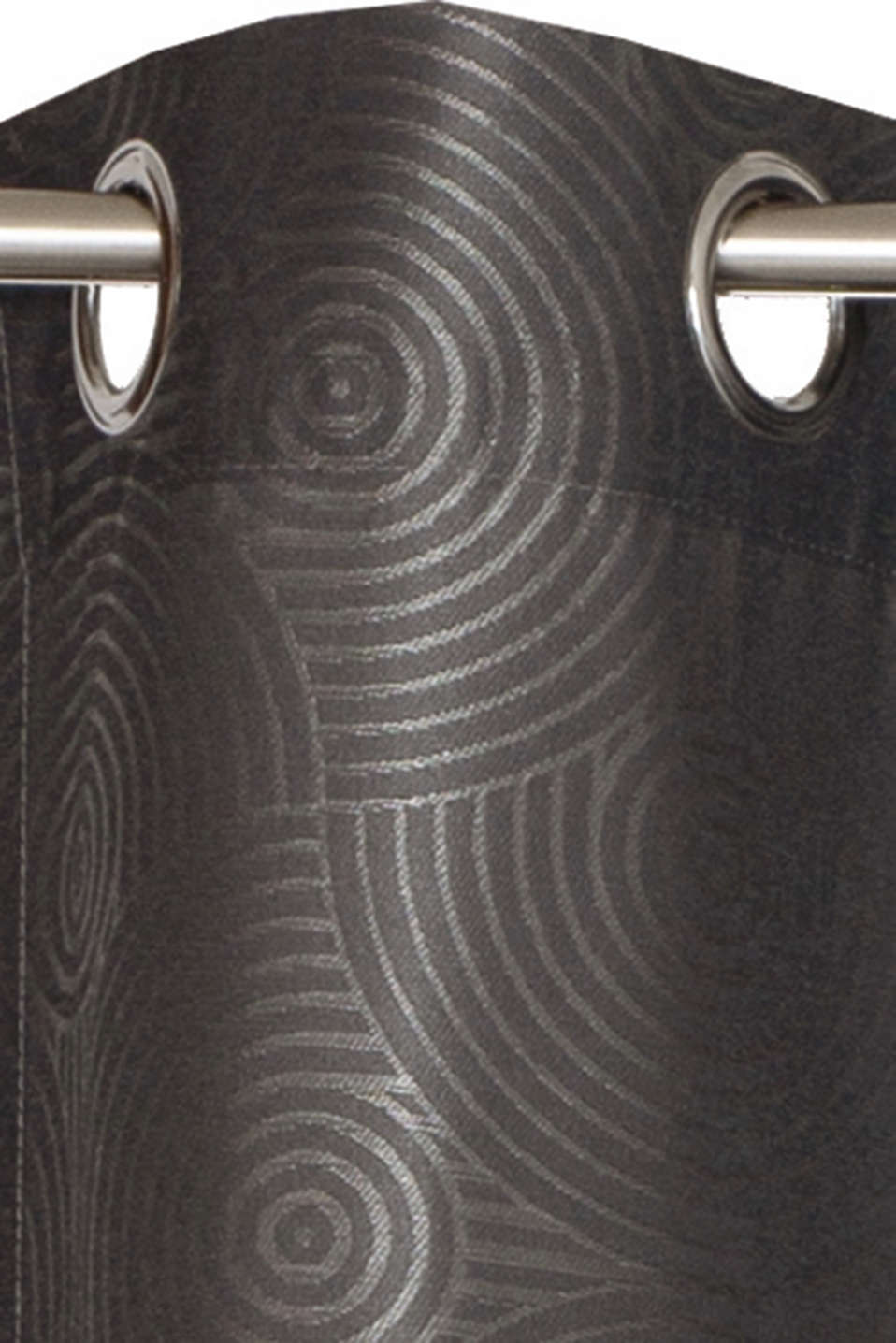Eyelet curtain with an interwoven ring pattern, ANTHRACITE, detail image number 1
