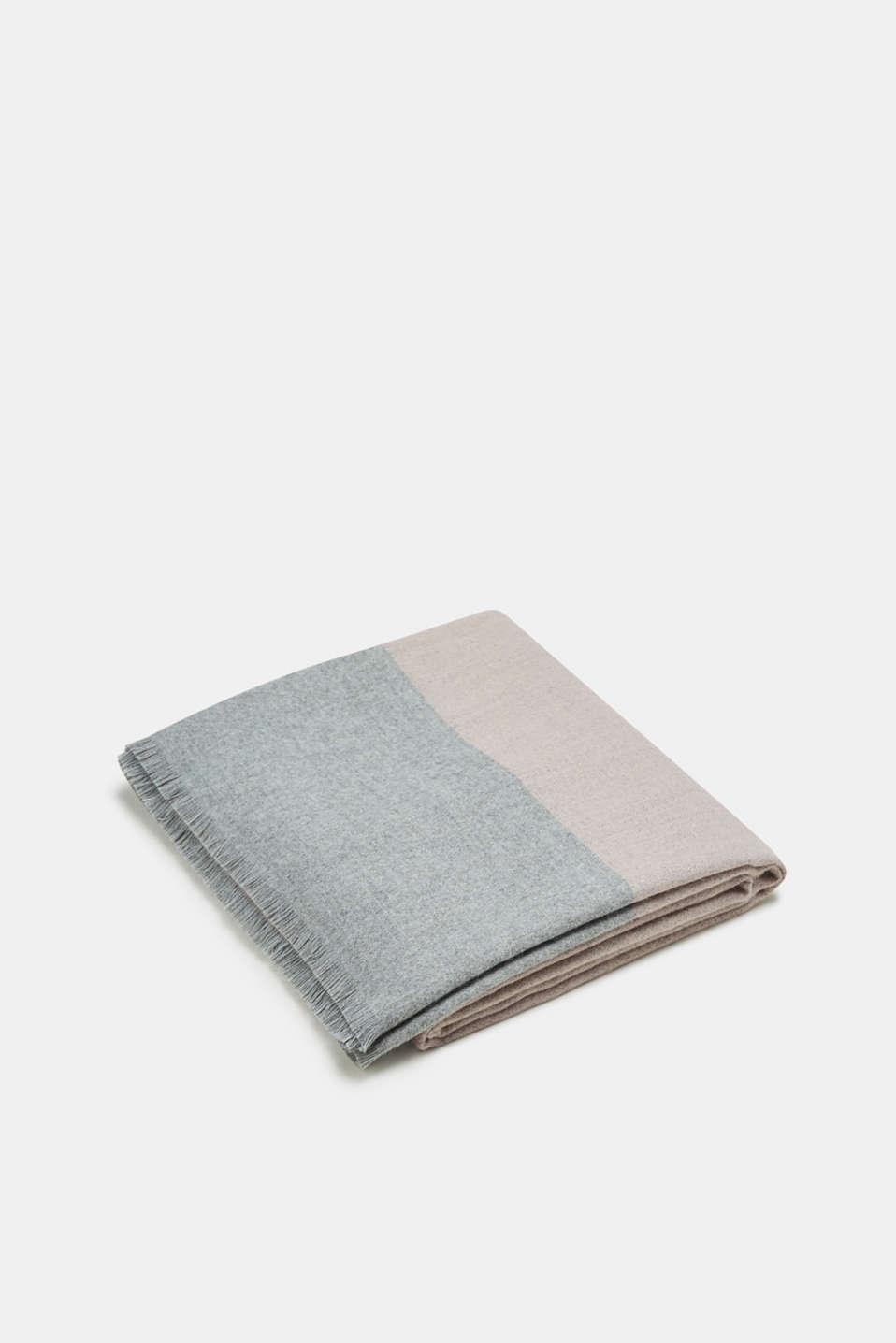 Elegant throw with contrasting stripes, made of Cashmink®, ROSE/GREY, detail image number 0