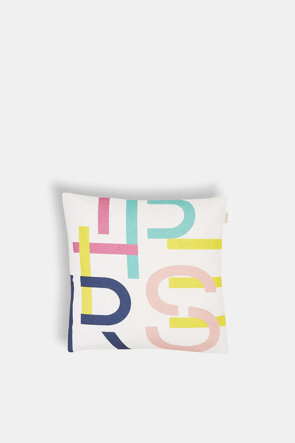 Esprit - Reversible cushion cover with colourful logo print