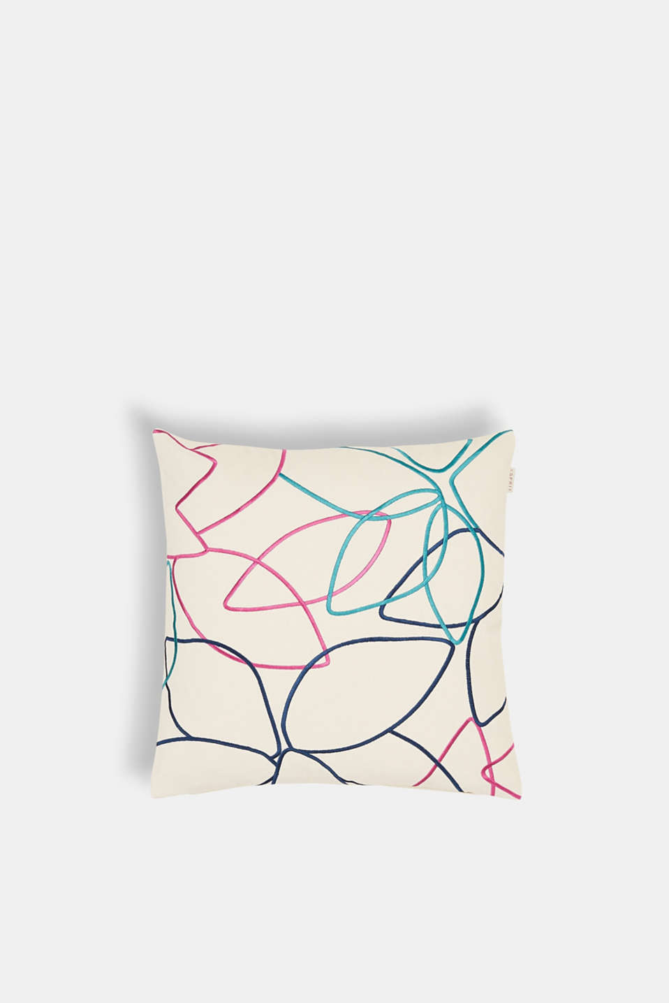 Cushion cover with colourful embroidery, OFF WHITE, detail image number 0
