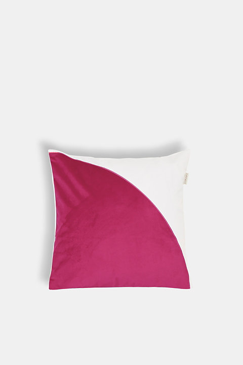 Material mix cushion cover with velvet